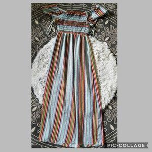 Monteau striped off the shoulder maxi dress size M